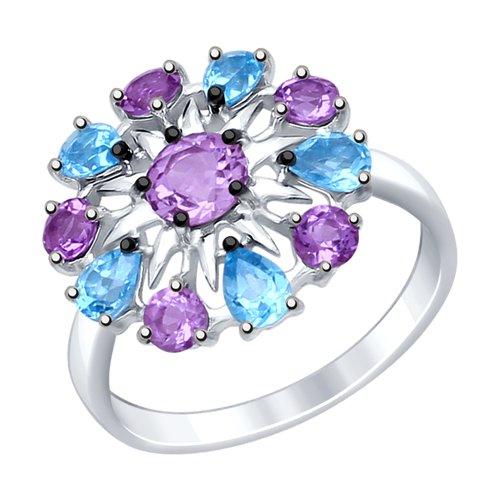 Кольцо из серебра с полудрагоценными вставками (92011410) - фото