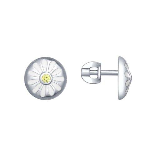 Серьги-пусеты из серебра с эмалью с фианитами «Ромашки»