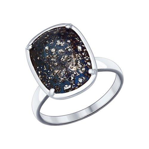 Кольцо из серебра с чёрным кристаллом Swarovski