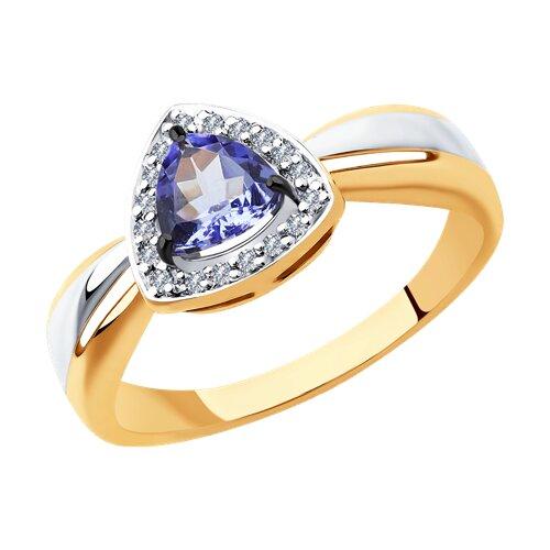 Кольцо из золота с бриллиантами и танзанитом (6014119) - фото