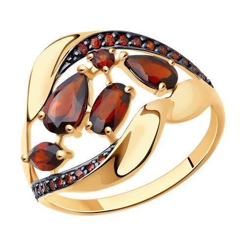 Кольцо из золота с гранатами и красными фианитами (714475) - фото