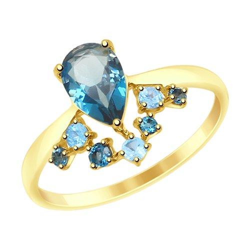 Кольцо из желтого золота с голубыми и синими топазами (715028-2) - фото