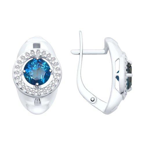 Серьги из серебра с синими топазами и фианитами (92021724) - фото