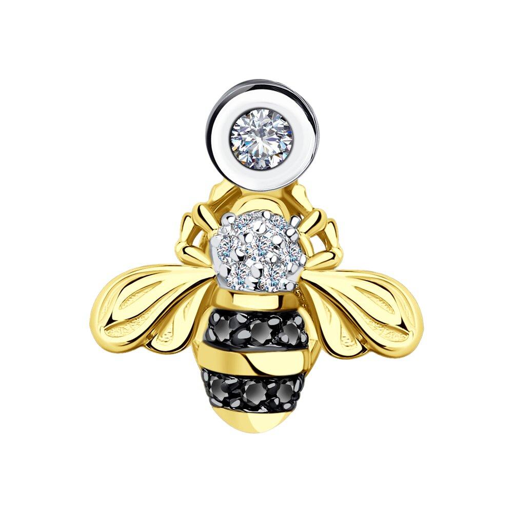 Фото - Подвеска SOKOLOV из желтого золота с бриллиантами и черными облагороженными бриллиантами подвеска змея из золота c черными фианитами