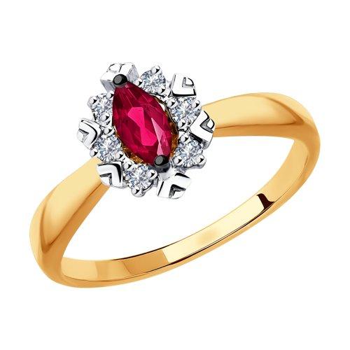 Кольцо из золота с бриллиантами и красными корундами (6018018) - фото