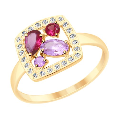 Кольцо из золота с миксом камней (715333) - фото