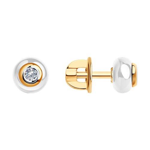 Серьги-пусеты из золота с бриллиантами и керамикой