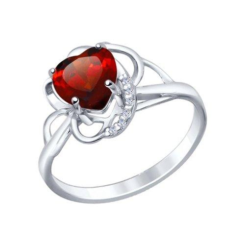 Кольцо love SOKOLOV из серебра с гранатом и фианитами кольцо love sokolov