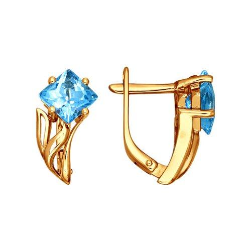 Золотые серьги с ромбовидным голубым топазом SOKOLOV