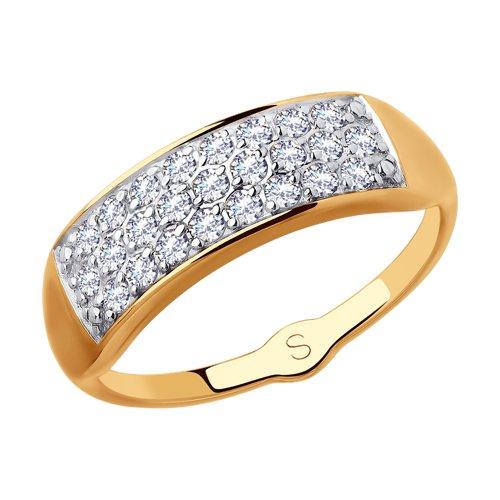 Кольцо из золота с фианитами (018075) - фото