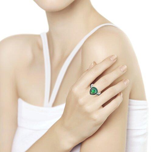 Кольцо из серебра с эмалью и зелёным ситаллом и фианитами (92011672) - фото №2