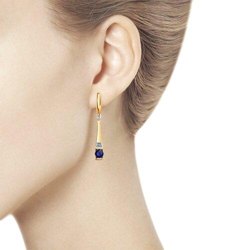 Серьги из золота с бриллиантами и синими корундами (6022148) - фото №3