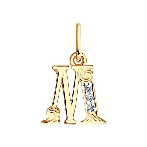 """Подвеска-буква """"М"""" из золота с фианитами 033825 sokolov фото"""