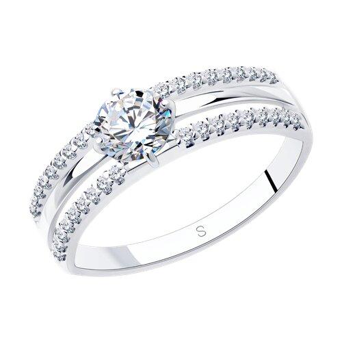 Кольцо из серебра с фианитами (94012244) - фото