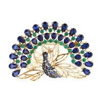 Брошь «Павлин» из золота с миксом камней