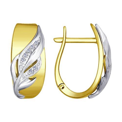 Серьги из комбинированного золота с бриллиантами (1021086-2) - фото