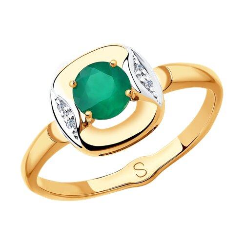Кольцо из золота с бриллиантами и агатом (6013055) - фото