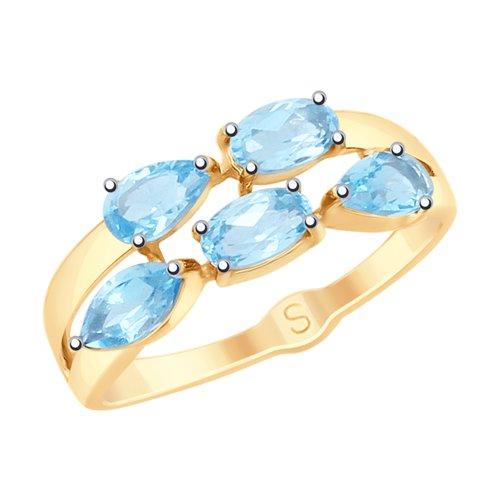 Кольцо из золота с топазами (715231) - фото