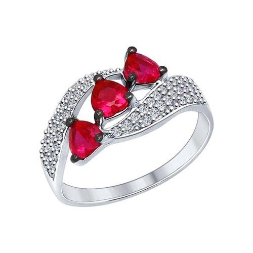Кольцо из серебра с бесцветными и красными фианитами