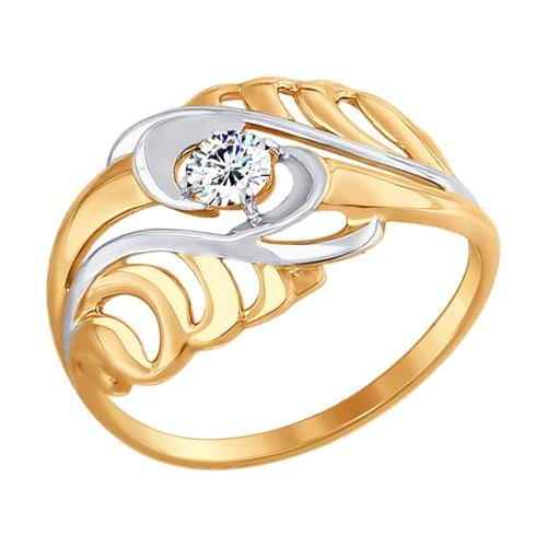 Кольцо из золота с фианитом (017446) - фото