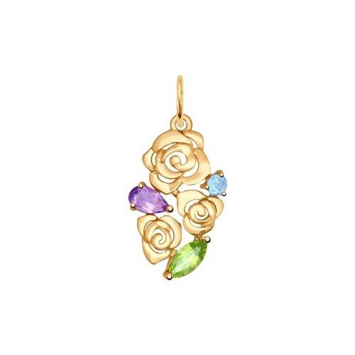 Подвеска из золота «Цветы» с полудрагоценными вставками