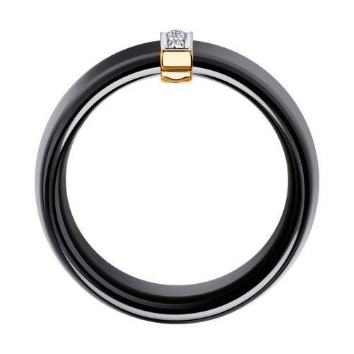 Чёрное керамическое кольцо с золотом и бриллиантами 6015024 SOKOLOV фото 2