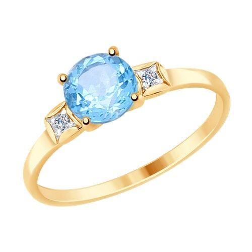 Кольцо из золота с топазом и фианитами (714925) - фото