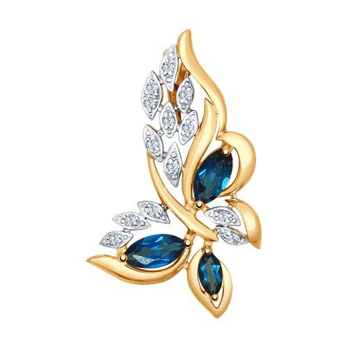 Подвеска «Бабочка» из золота с синими топазами и фианитами