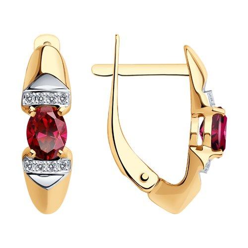 Серьги из золота с бриллиантами и рубинами (4020377) - фото