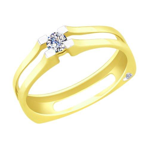 Кольцо из желтого золота с бриллиантами (1011705-2) - фото