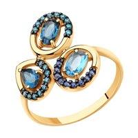 Кольцо из золота с голубым и синими топазами и фианитами