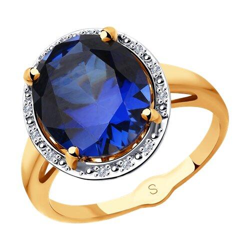 Кольцо из золота с бриллиантами и синим корунд (синт.) (6012149) - фото