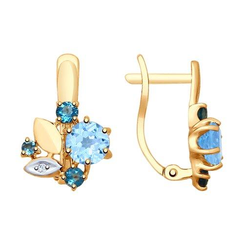 Серьги из золота с голубыми и синими топазами и фианитами (725325) - фото