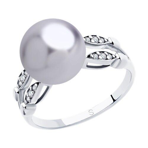 Кольцо из серебра с сиреневым жемчугом Swarovski и фианитами (94012918) - фото