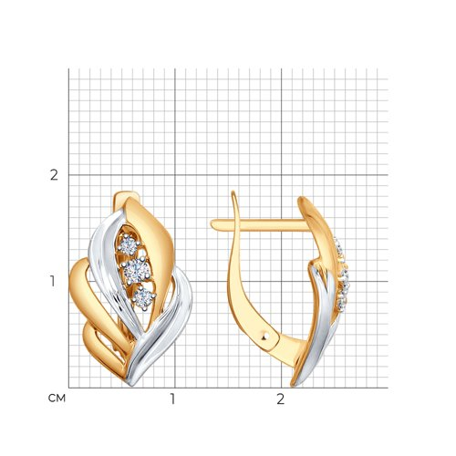 Серьги из золота с фианитами (027513) - фото №2