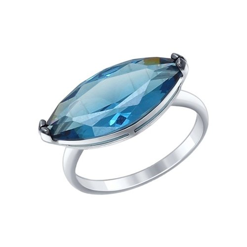 Кольцо из серебра с синим ситаллом