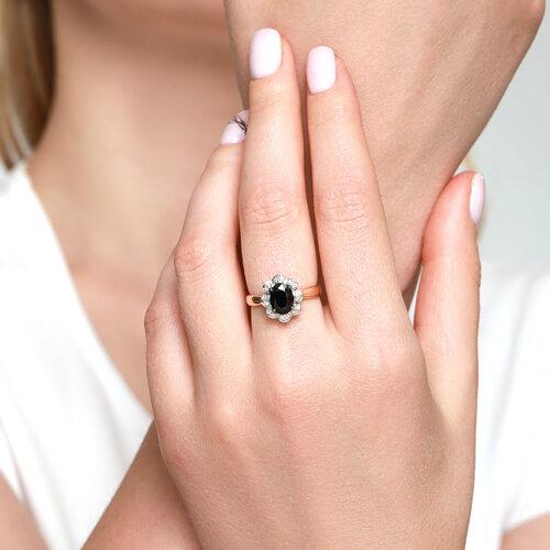 Кольцо из золота с бриллиантами и сапфиром (2011071) - фото №4