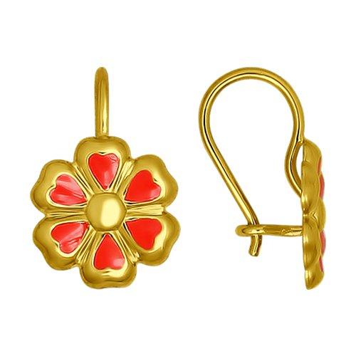 Серьги из желтого золота с эмалью (027345-2) - фото