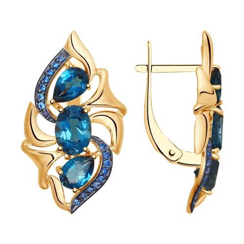 Серьги из золота с синими топазами и синими фианитами (725078) - фото
