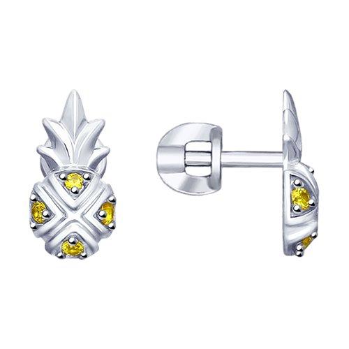 Серьги из серебра с фианитами (94023174) - фото