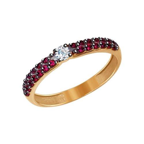 Кольцо SOKOLOV из золота с красными фианитами золотое кольцо с красными фианитами sokolov