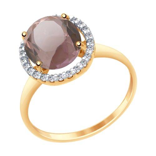 Кольцо из золота с ситаллом султанит и фианитами (715453) - фото