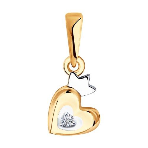 """Подвеска """"Сердце"""" из золота с фианитом 035015 SOKOLOV фото"""