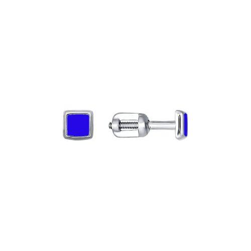 Квадратные серьги-пусеты из серебра с синей эмалью