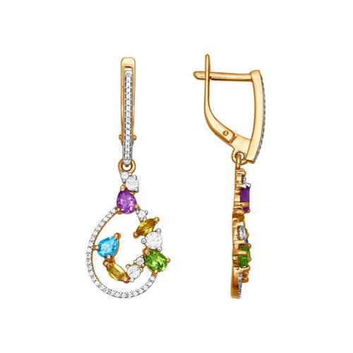 Длинные золотые серьги с полудрагоценными камнями SOKOLOV яркие золотые серьги с бабочкой sokolov
