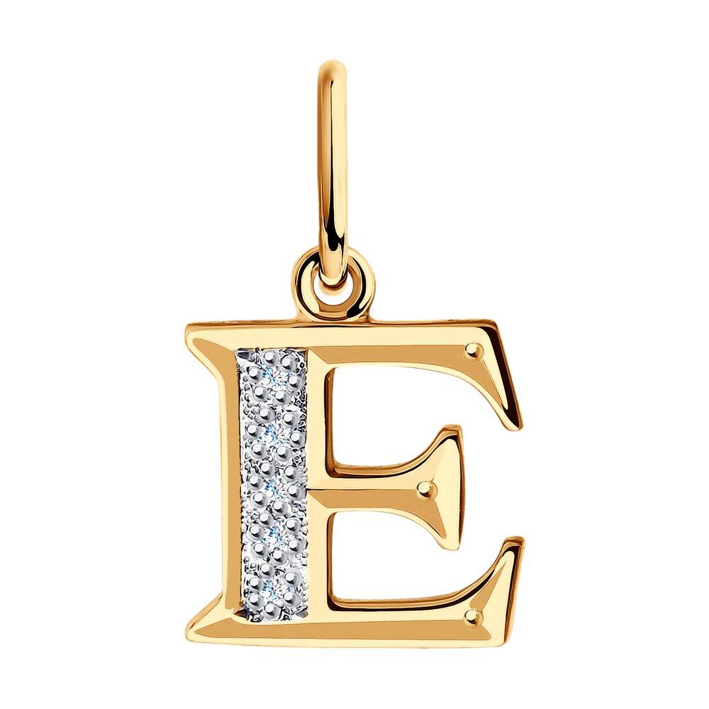 Подвеска-буква «Е» с фианитами SOKOLOV