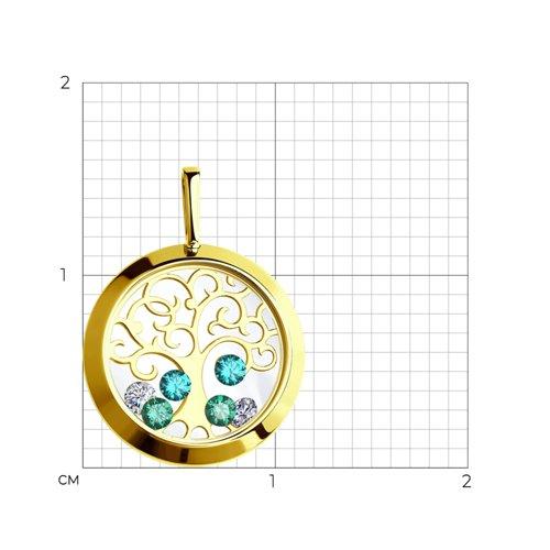 Подвеска из желтого золота с минеральным стеклом и бесцветными и зелеными фианитами (035074-2) - фото №2