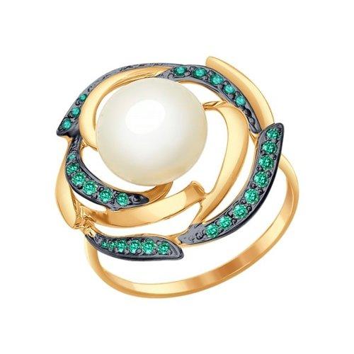 Кольцо из золота с жемчугом и зелеными фианитами