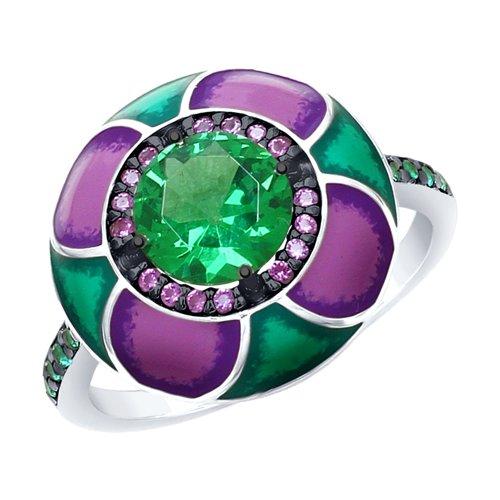 Кольцо из серебра с эмалью с зелёным ситаллом и зелеными и сиреневыми фианитами (92011698) - фото