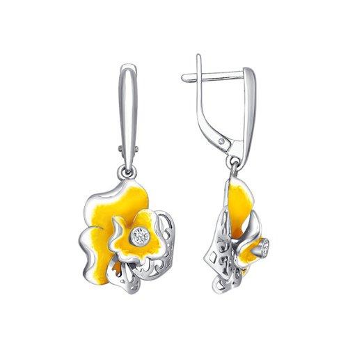 Серьги длинные SOKOLOV из серебра с эмалью c фианитом «Орхидея» серьги длинные sokolov из серебра с эмалью c фианитом орхидея